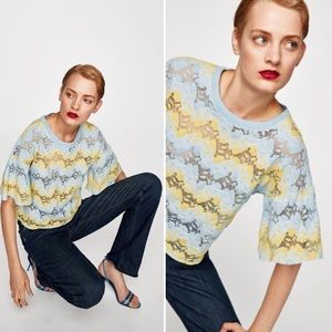 Zara Yellow & Blue Contrasting Lace Top